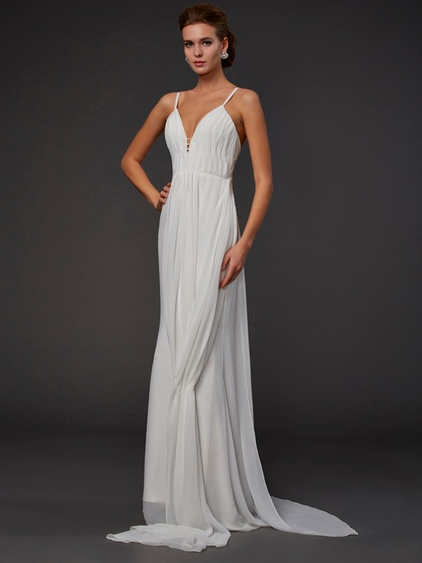 Floor-Length Trumpet/Mermaid V-neck Sleeveless Ruffles Chiffon Dresses