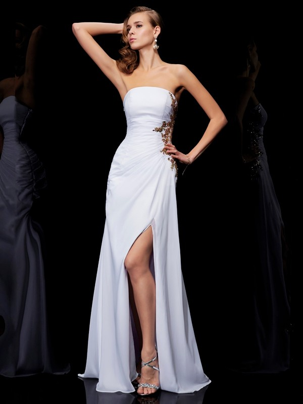 Floor-Length Sheath/Column Strapless Sleeveless Applique Chiffon Dresses