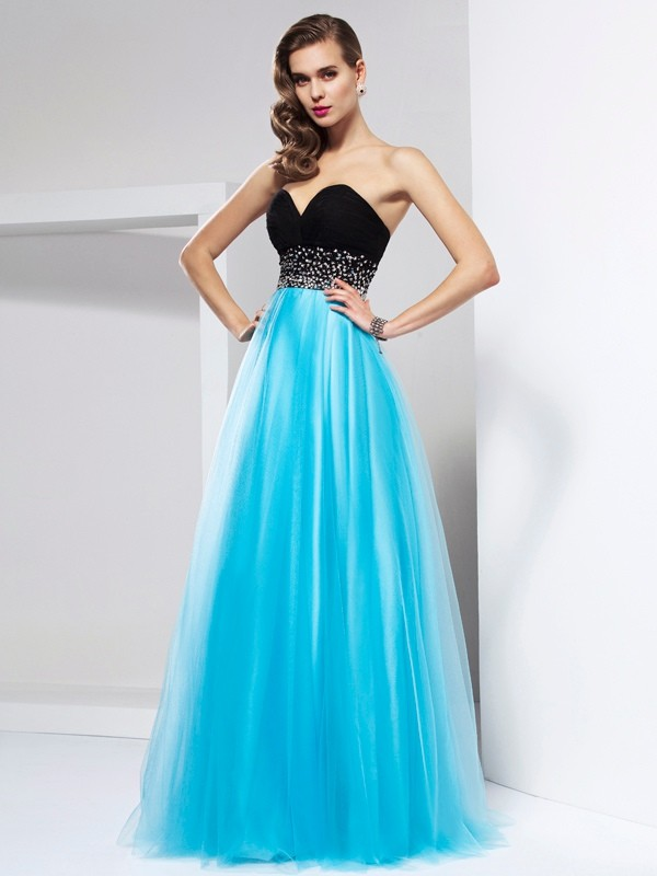 Floor-Length A-Line/Princess Sweetheart Sleeveless Sash/Ribbon/Belt Net Dresses