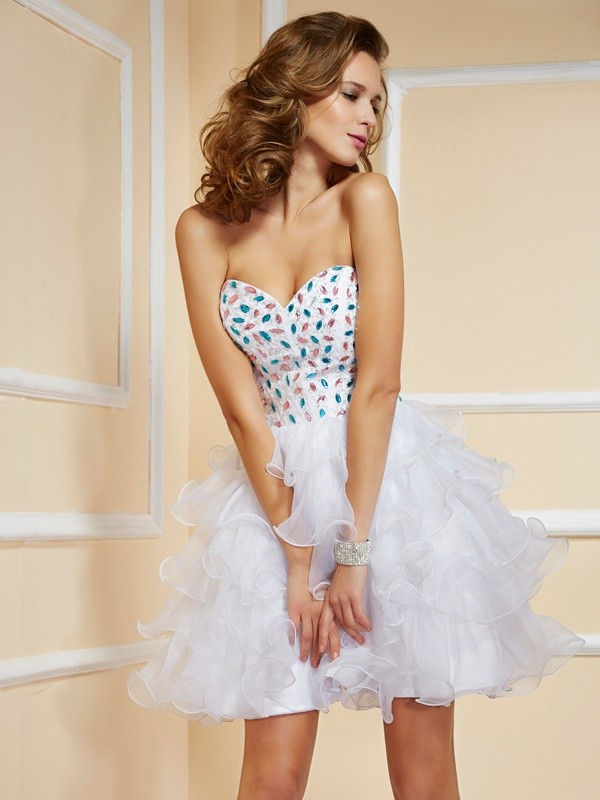 Short/Mini A-Line/Princess Sweetheart Sleeveless Rhinestone Organza Dresses