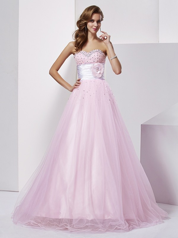 Floor-Length Ball Gown Sweetheart Sleeveless Beading Elastic Woven Satin Dresses