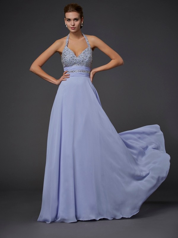 Floor-Length A-Line/Princess Halter Sleeveless Beading Chiffon Dresses