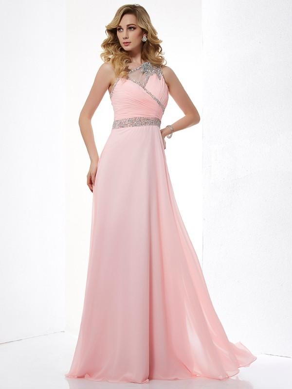 Floor-Length A-Line/Princess One-Shoulder Sleeveless Beading Chiffon Dresses