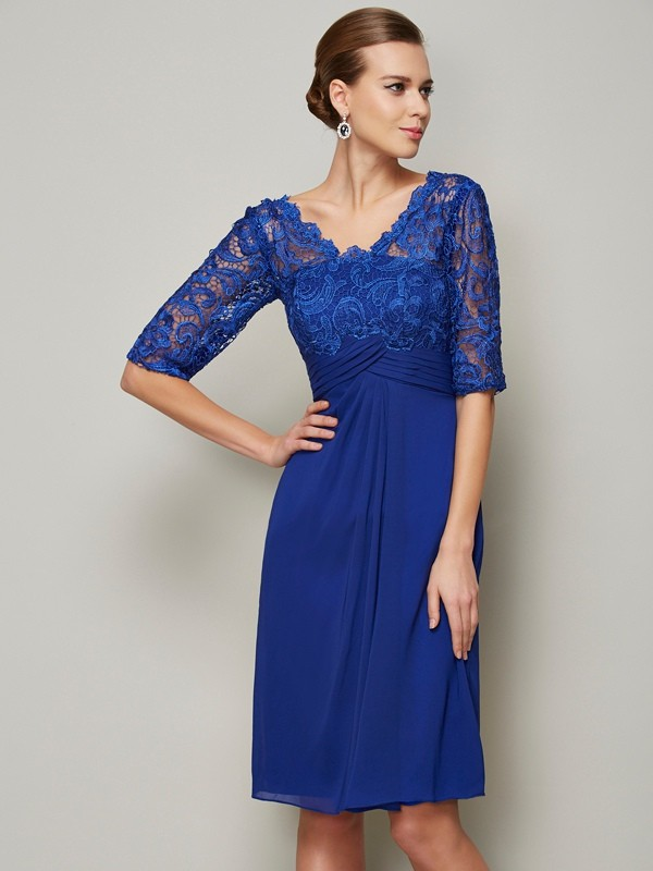 Knee-Length Sheath/Column V-neck 1/2 Sleeves Lace Chiffon Mother of the Bride Dresses