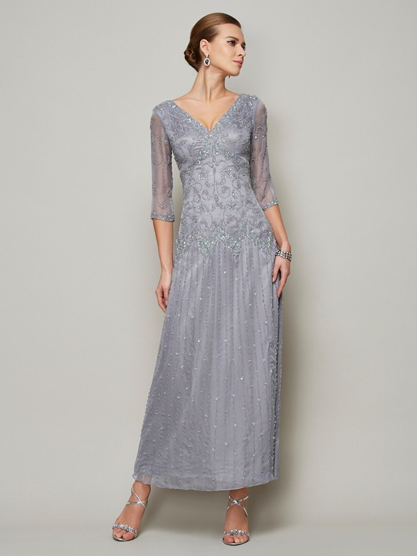 Ankle-Length Sheath/Column V-neck 1/2 Sleeves Beading Elastic Woven Satin Mother of the Bride Dresses