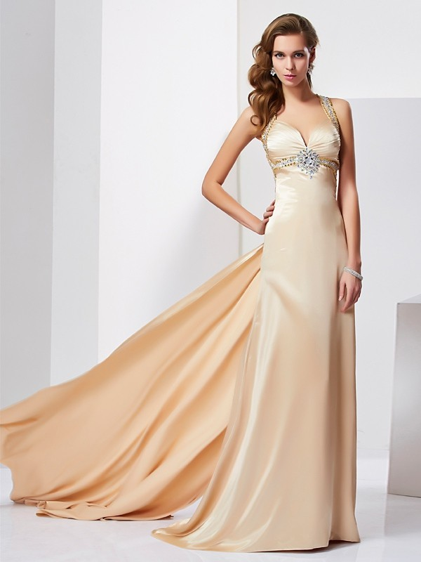 Sweep/Brush Train Sheath/Column Halter Sleeveless Ruffles Silk like Satin Dresses