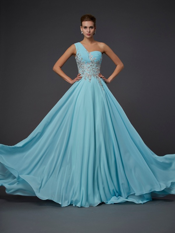 Floor-Length A-Line/Princess One-Shoulder Sleeveless Ruffles Chiffon Dresses