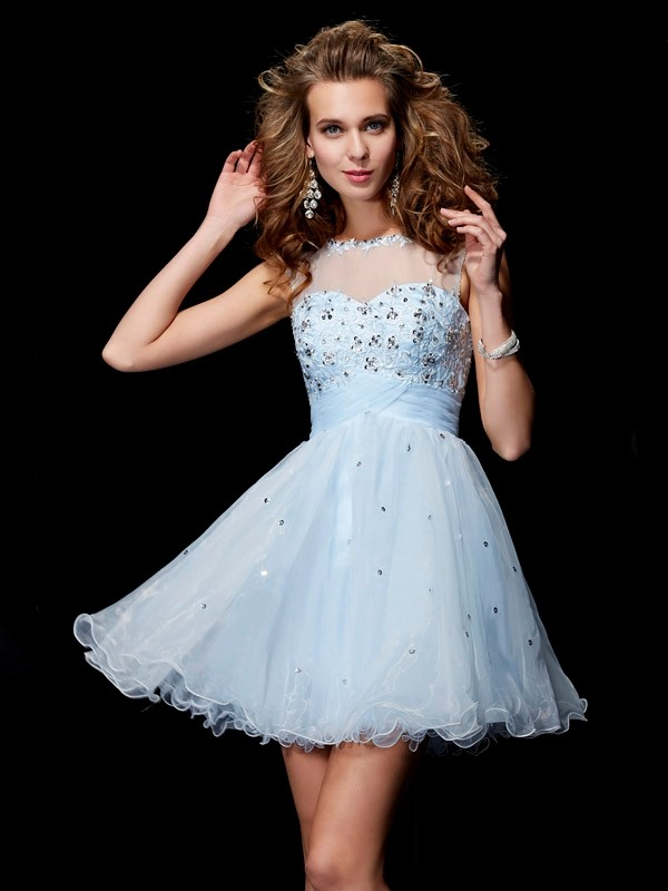 Short/Mini A-Line/Princess Scoop Sleeveless Beading Elastic Woven Satin Dresses