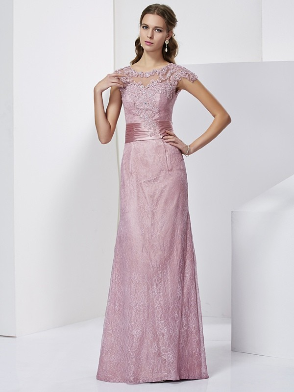 67cc885fb36 Floor-Length Sheath Column High Neck Short Sleeves Lace Elastic Woven Satin  Mother of