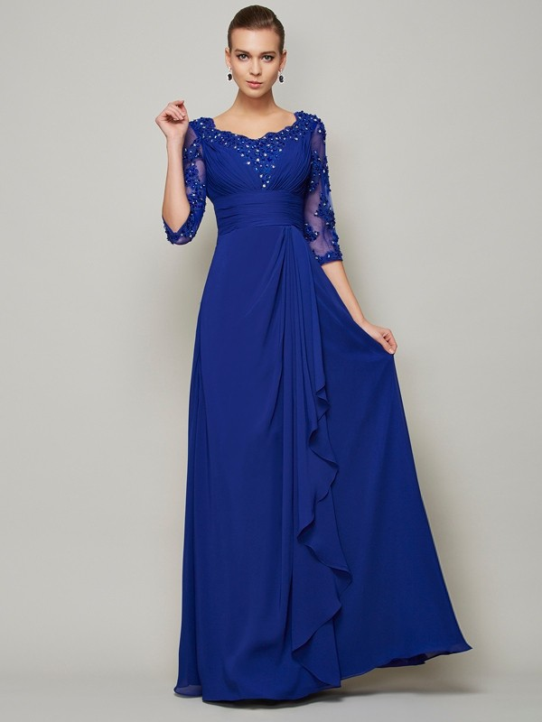Floor-Length A-Line/Princess Scoop 3/4 Sleeves Lace Chiffon Mother of the Bride Dresses