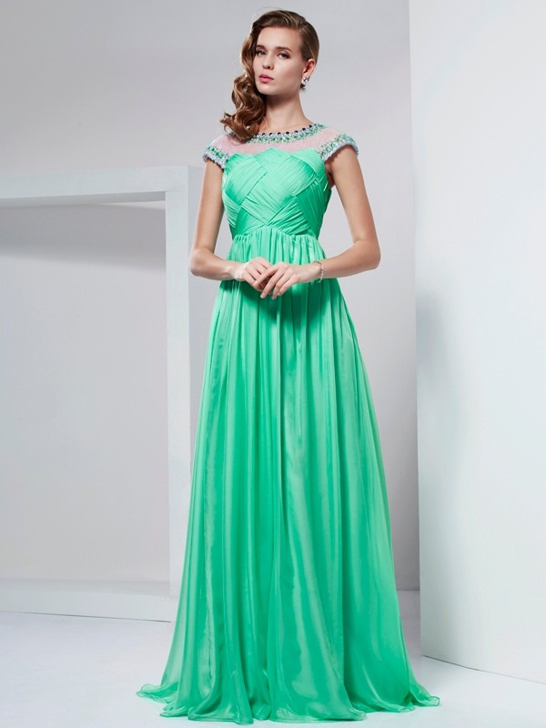Floor-Length A-Line/Princess High Neck Short Sleeves Ruffles Chiffon Dresses