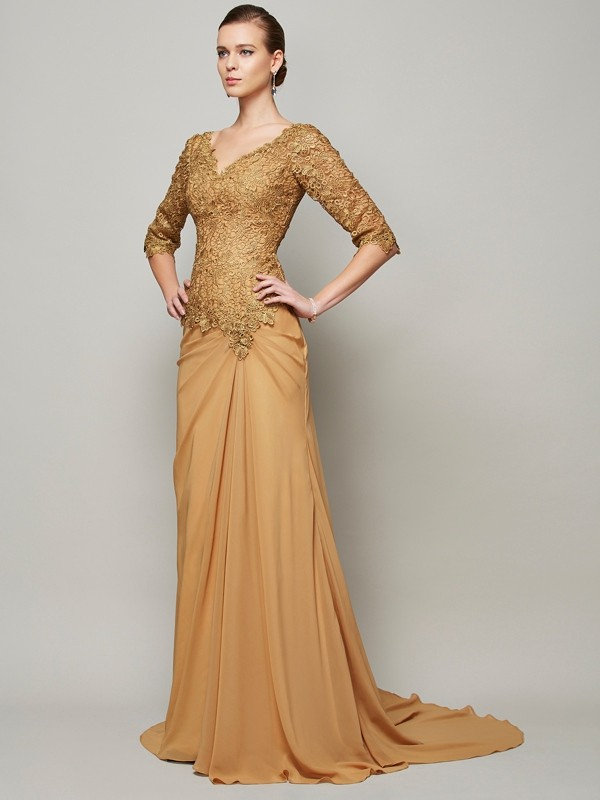 Floor-Length Sheath/Column V-neck 1/2 Sleeves Lace Chiffon Dresses