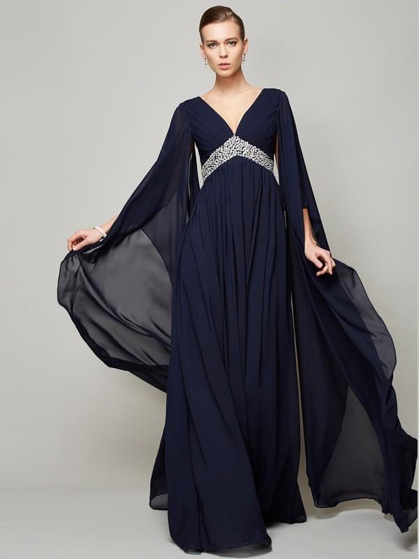 Floor-Length A-Line/Princess V-neck Long Sleeves Beading Chiffon Dresses