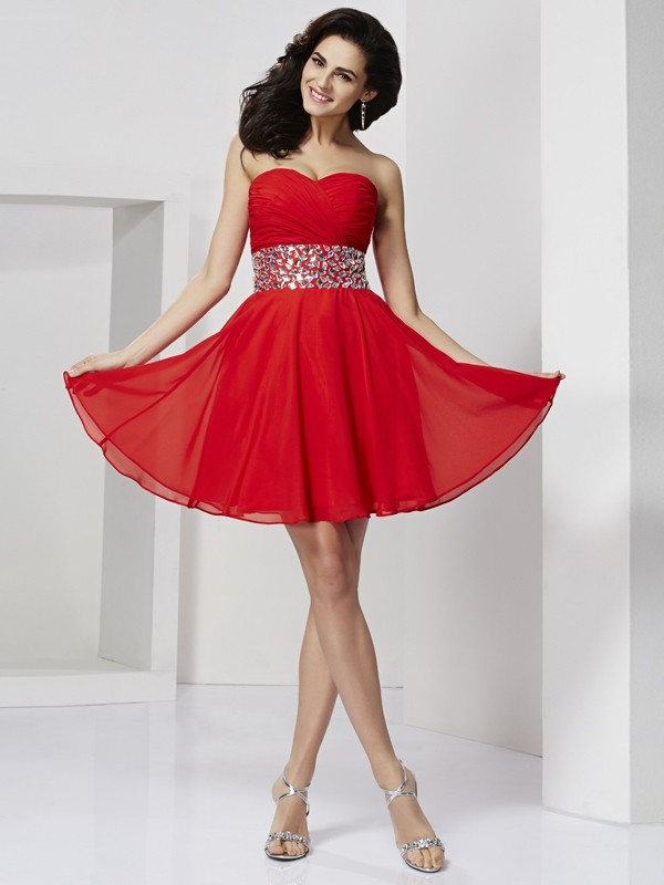 Short/Mini A-Line/Princess Sweetheart Sleeveless Rhinestone Chiffon Dresses