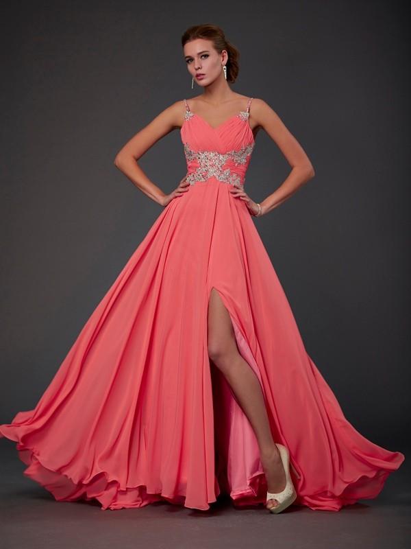 Sweep Train A-Line/Princess Scoop Sleeveless Lace Chiffon Dresses