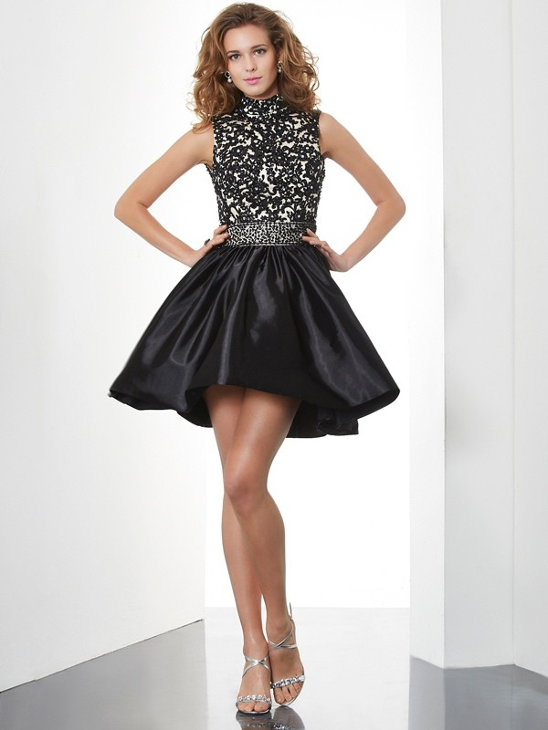 Short/Mini A-Line/Princess High Neck Sleeveless Beading Taffeta Dresses