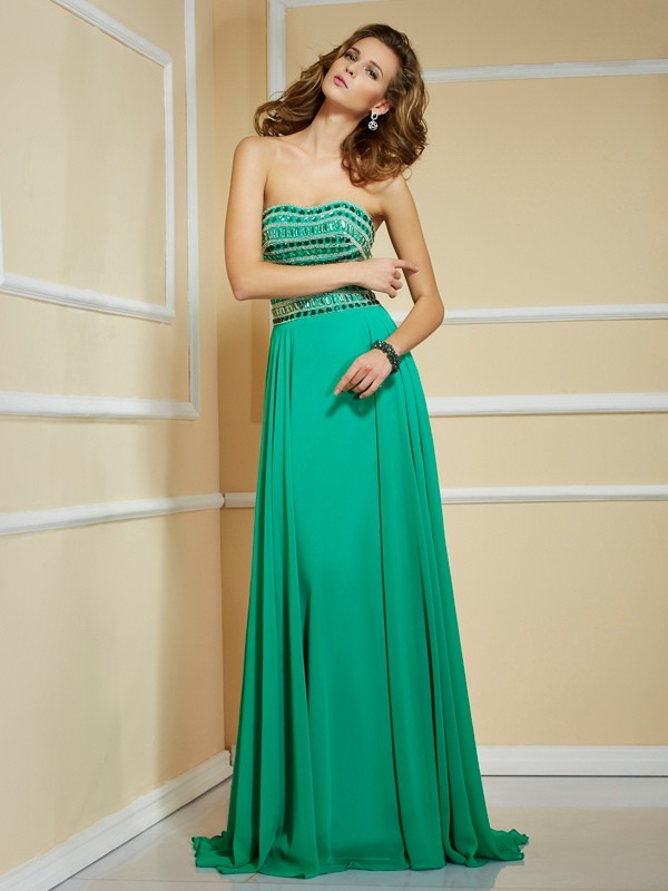 Sweep/Brush Train A-Line/Princess Strapless Sleeveless Rhinestone Chiffon Dresses