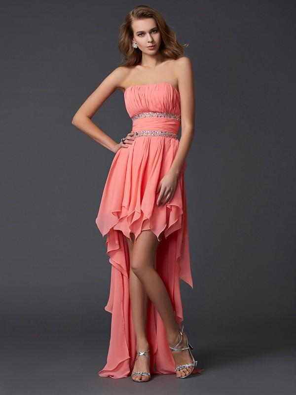 Asymmetrical Empire Strapless Sleeveless Ruffles Chiffon Dresses