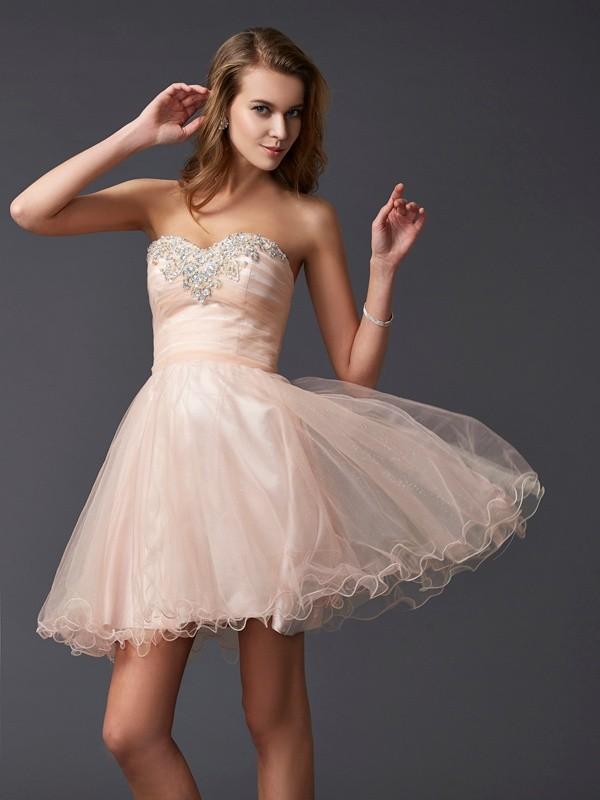 Short/Mini A-Line/Princess Sweetheart Sleeveless Other Silk like Satin Dresses
