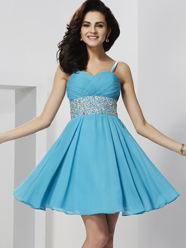 Short/Mini A-Line/Princess Spaghetti Straps Sleeveless Rhinestone Chiffon Dresses