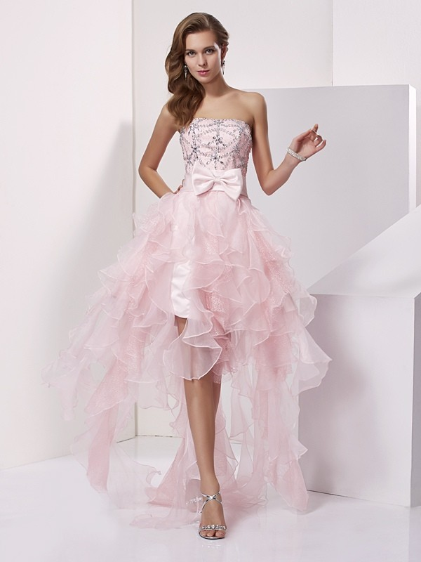 Asymmetrical A-Line/Princess Strapless Sleeveless Beading Organza Dresses