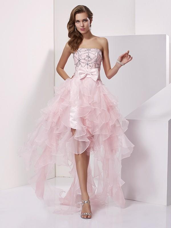 Asymmetrical A-Line/Princess Strapless Sleeveless Beading Organza Dresses