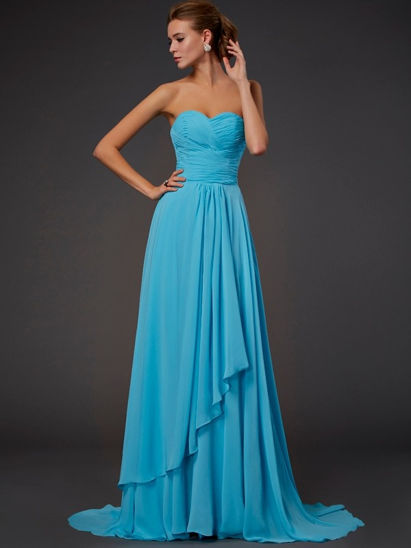 Floor-Length A-Line/Princess Sweetheart Sleeveless Pleats Chiffon Dresses