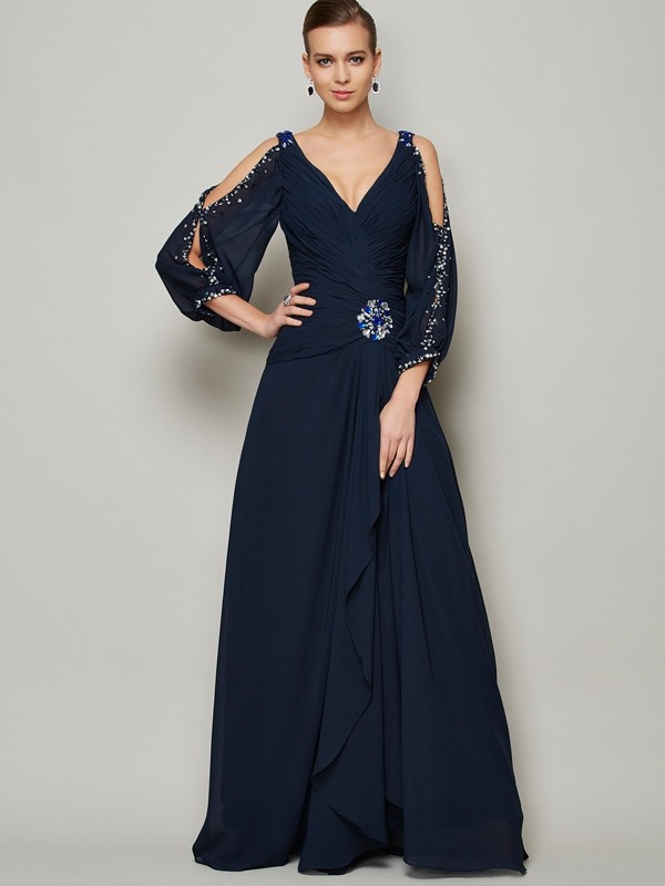 Floor-Length A-Line/Princess V-neck Long Sleeves Beading Chiffon Dresses