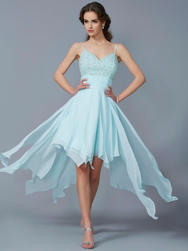 Asymmetrical A-Line/Princess Spaghetti Straps Sleeveless Beading Chiffon Dresses