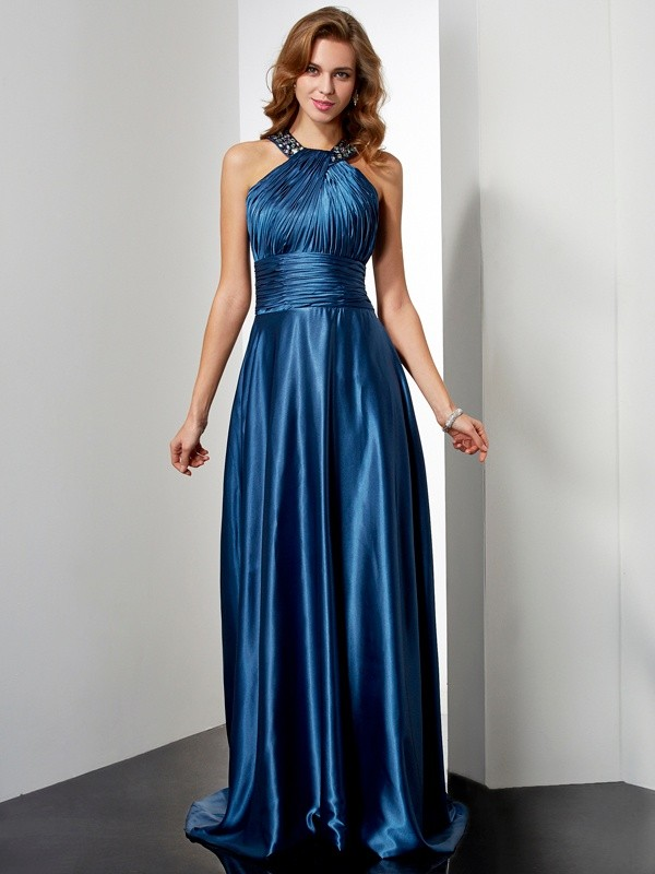 Floor-Length A-Line/Princess Halter Sleeveless Ruffles Elastic Woven Satin Dresses