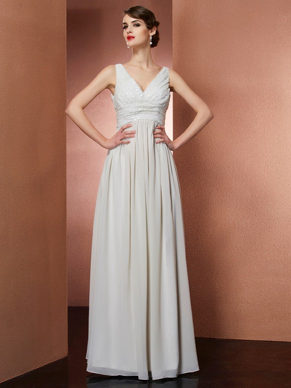 Floor-Length A-Line/Princess V-neck Sleeveless Other Chiffon Dresses