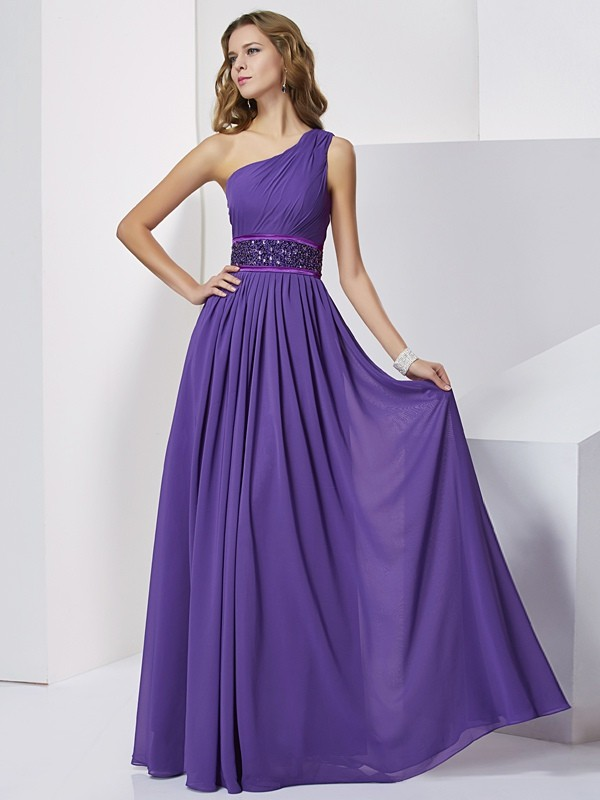 Floor-Length Empire One-Shoulder Sleeveless Beading Chiffon Dresses