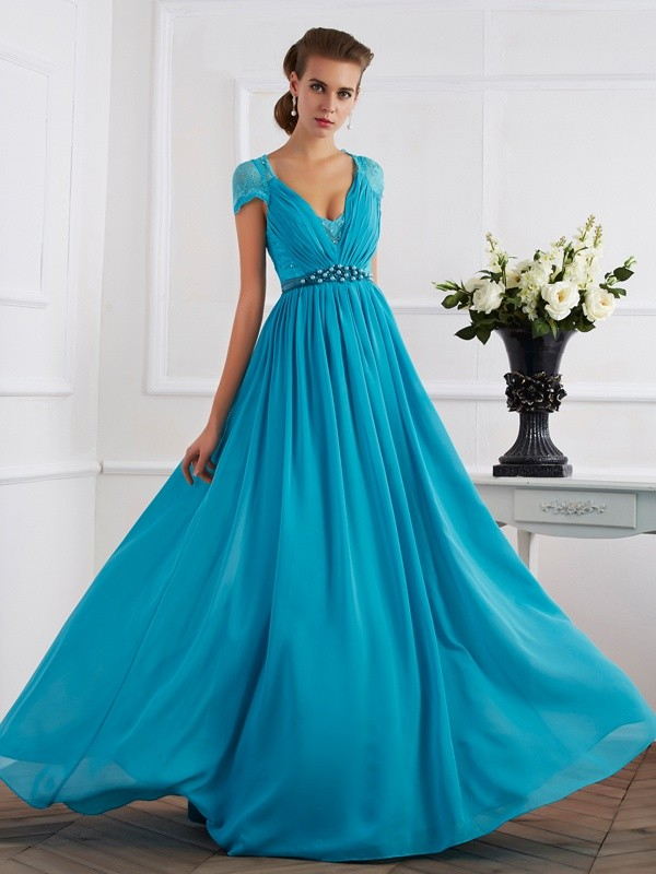 Floor-Length A-Line/Princess V-neck Short Sleeves Beading Chiffon Dresses
