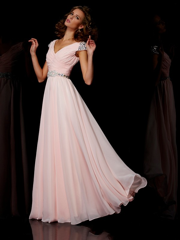 Floor-Length A-Line/Princess V-neck Short Sleeves Ruffles Chiffon Dresses