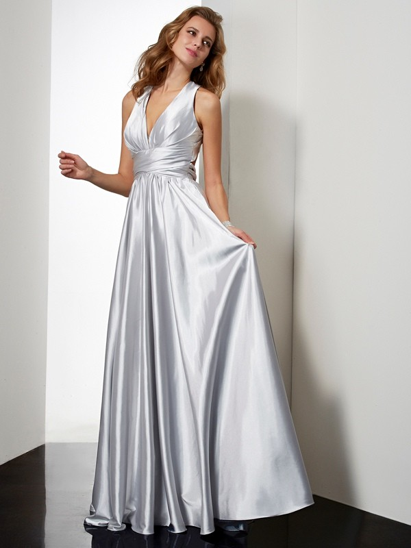 Floor-Length Sheath/Column Halter Sleeveless Pleats Elastic Woven Satin Dresses