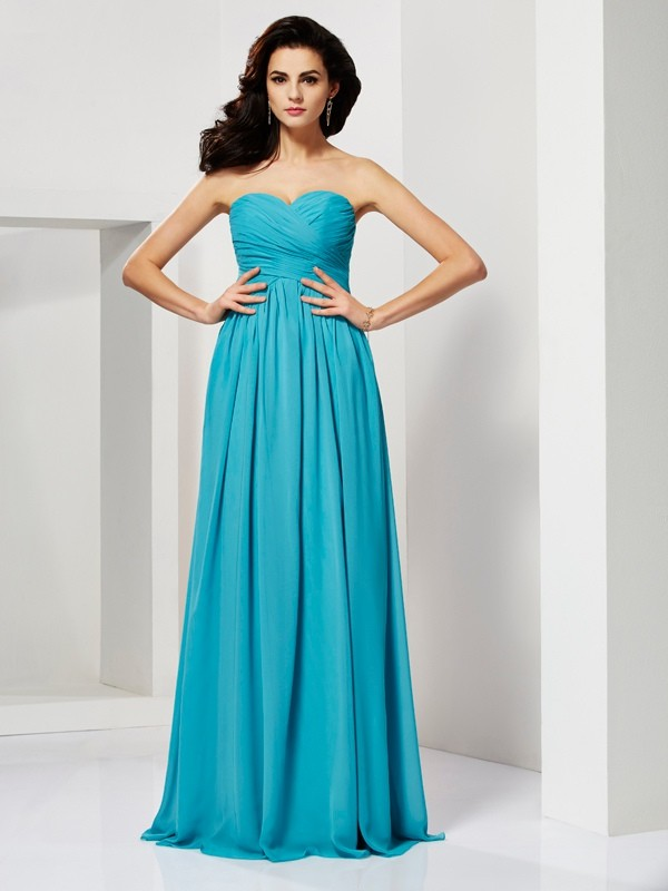Floor-Length A-Line/Princess Sweetheart Sleeveless Pleats Chiffon Dresses