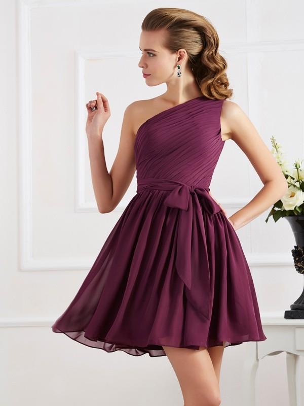Short/Mini A-Line/Princess One-Shoulder Sleeveless Pleats Chiffon Bridesmaid Dresses