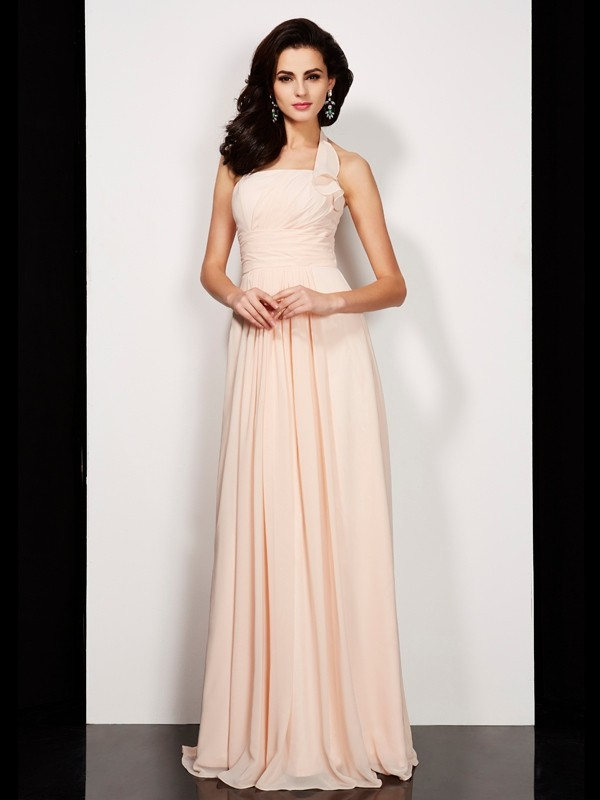 Floor-Length A-Line/Princess Halter Sleeveless Pleats Chiffon Dresses