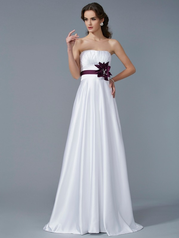 Sweep/Brush Train A-Line/Princess Strapless Sleeveless Hand-Made Flower Satin Dresses