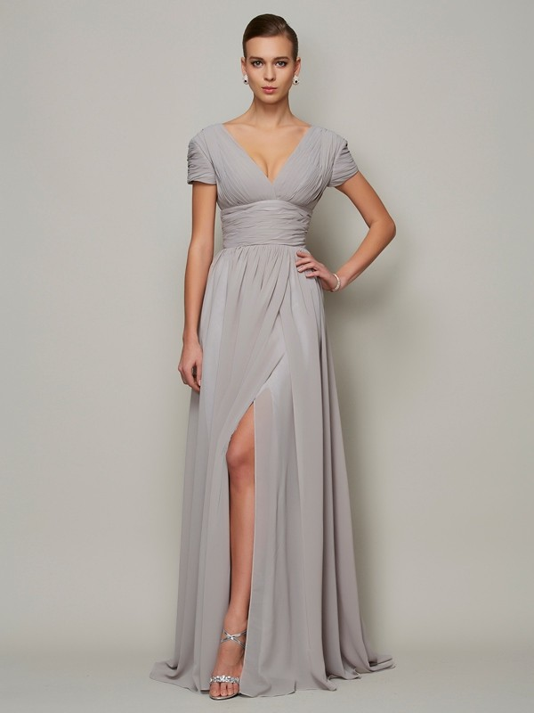 Floor-Length A-Line/Princess V-neck Short Sleeves Other Chiffon Mother of the Bride Dresses
