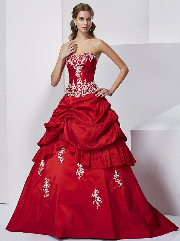 Floor-Length Ball Gown Sweetheart Sleeveless Beading Taffeta Dresses