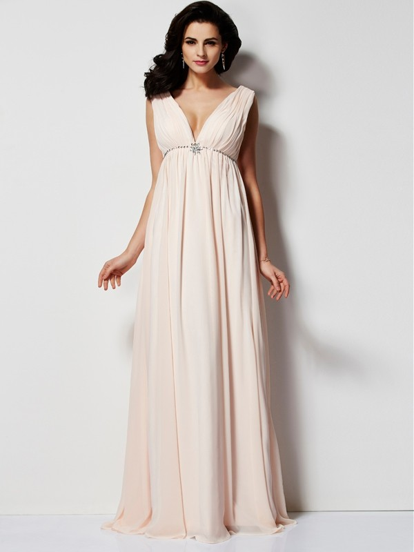 Floor-Length A-Line/Princess V-neck Sleeveless Pleats Chiffon Dresses
