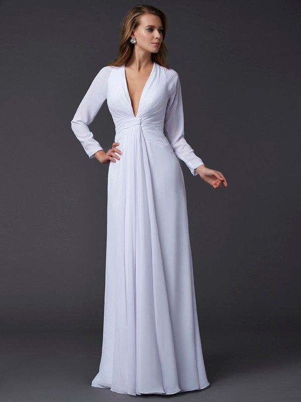 Floor-Length Sheath/Column V-neck Long Sleeves Ruched Chiffon Dresses