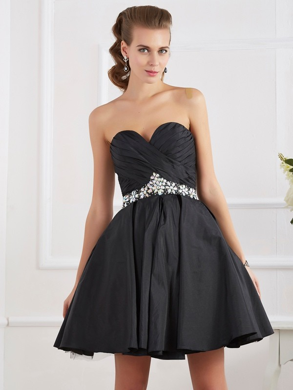 Short/Mini A-Line/Princess Sweetheart Sleeveless Beading Taffeta Dresses