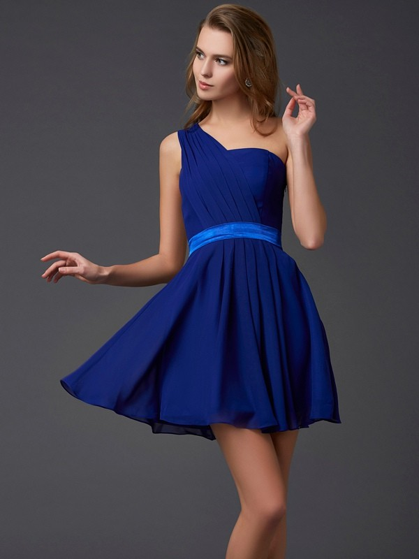 Short/Mini A-Line/Princess One-Shoulder Sleeveless Pleats Chiffon Dresses