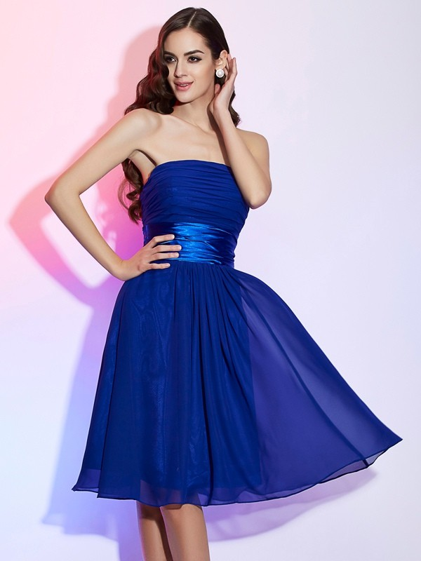 Knee-Length A-Line/Princess Strapless Sleeveless Bowknot Chiffon Dresses