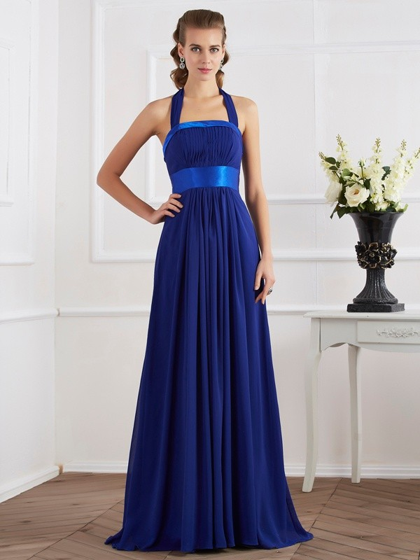 Floor-Length A-Line/Princess Halter Sleeveless Ruched Chiffon Dresses