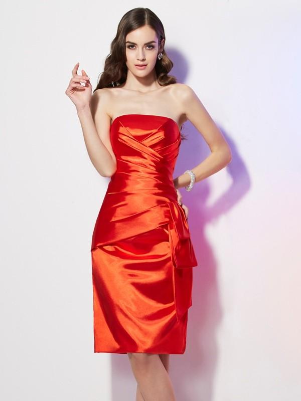 Short/Mini Sheath/Column Strapless Sleeveless Pleats Elastic Woven Satin Dresses
