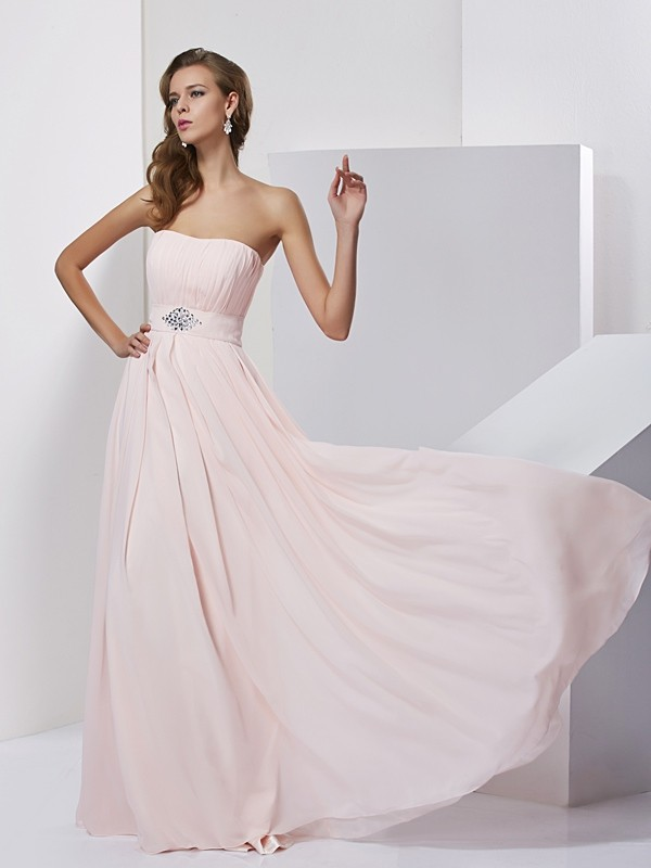 Floor-Length A-Line/Princess Strapless Sleeveless Other Chiffon Dresses