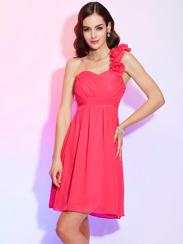 Knee-Length A-Line/Princess One-Shoulder Sleeveless Pleats Chiffon Dresses